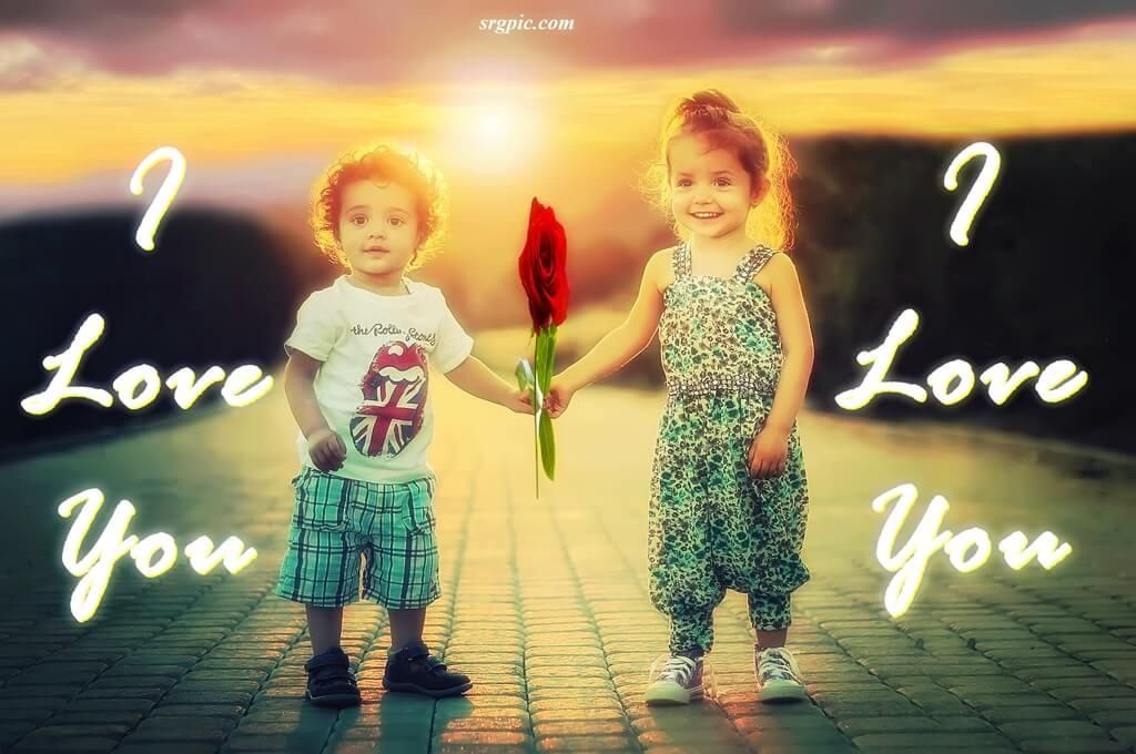whatsapp dp love image children with rose